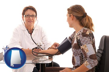 a female nurse practitioner checking a patient's blood pressure - with Alabama icon