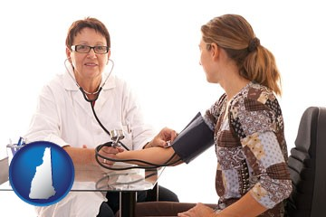 a female nurse practitioner checking a patient's blood pressure - with New Hampshire icon
