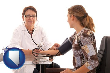 a female nurse practitioner checking a patient's blood pressure - with Nevada icon