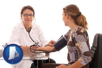 a female nurse practitioner checking a patient's blood pressure - with Rhode Island icon
