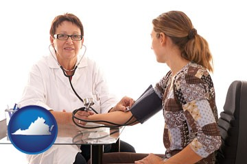 a female nurse practitioner checking a patient's blood pressure - with Virginia icon