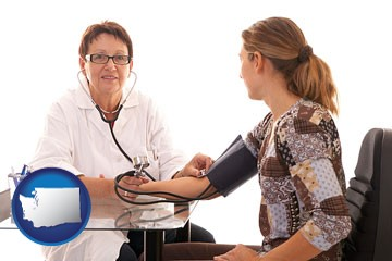 a female nurse practitioner checking a patient's blood pressure - with Washington icon